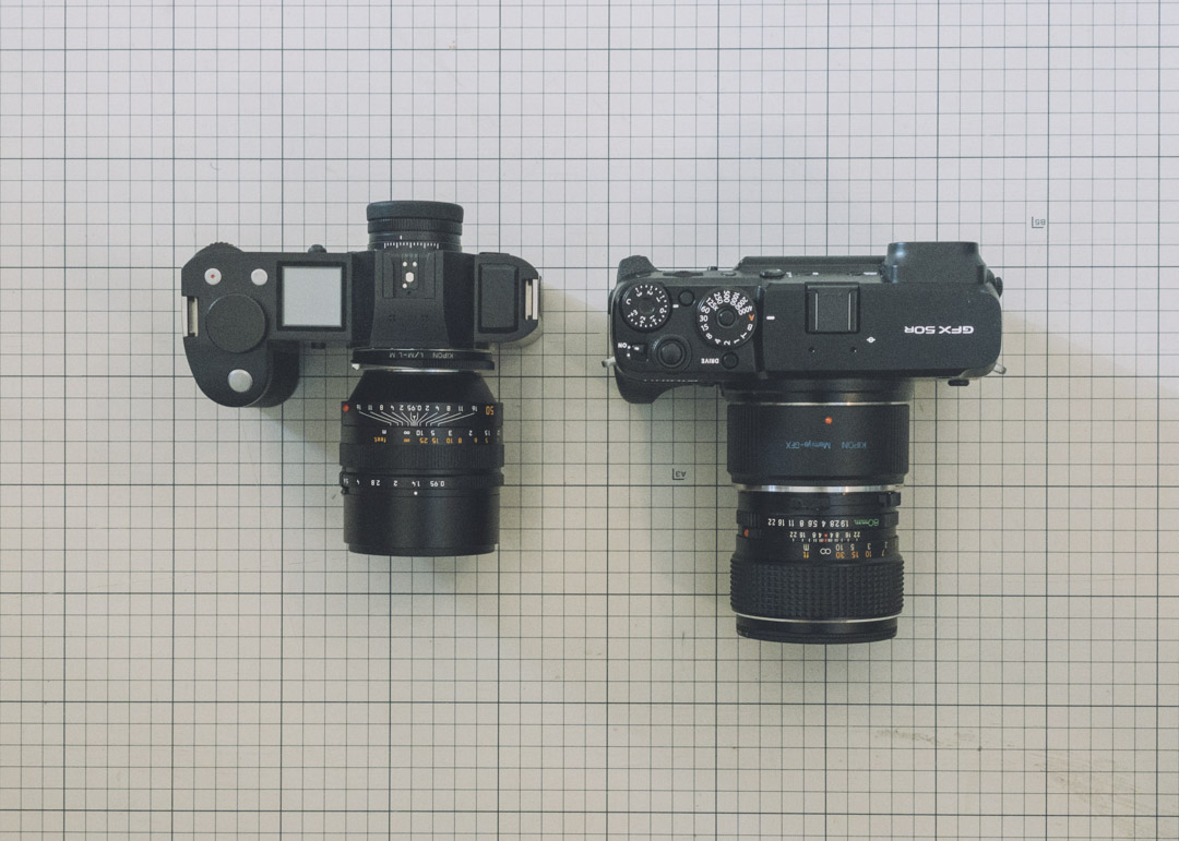 LEICA SL601 Noctilux50 0.95 GFX 50R アダプタ Mamiya SEKOR C 80 1.9 比較